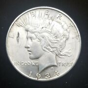 1934-d Peace 90 Silver Dollar Uncirculated But With A Planchet Flaw. Look