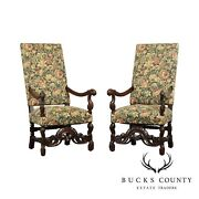 French Louis Xiii Style Pair Vintage Walnut Tapestry Upholstered Armchairs