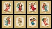 Christmas Angel Song Religious Angels Block Cotton Fabric Wilmington 24 Panel
