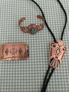 Vintage Copper Jewelry Bell Trading Co 3 Pieces Bracelet Turquoise Bolo Buckle