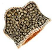 Large 2.26ct White And Chocolate Fancy Diamond 14k Rose Gold Pave Anniversary Ring