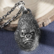 Menand039s Womenand039s Real Solid 999 Sterling Silver Pendants Gorilla Animal Fashion