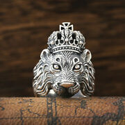 Men's Real Solid 925 Sterling Silver Rings Lion King Crown Size 8 9 10 11