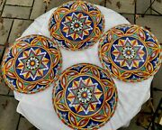 Lot Of 4 Arte And Basso Multi Color Star Pattern Dinner Plateshandcrafted In Peru