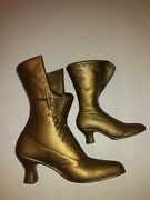 Vintage Brass Victorian Ladies Lace Up Boot Vase Planters Large 8 And 6 Lot Of 2