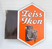 1940and039s Vintage Rare Zeiss Ikon Camera And Film Ad Porcelain Enamel Sign Germany