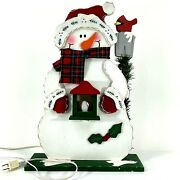 Best Value Christmas Wooden Snowman Decor Layered Stand Scarf Lights Up 17 Inch