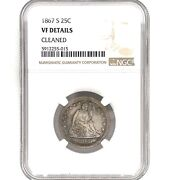 1867-s Seated Liberty Silver Quarter 25c, Ngc Vf Details Cleaned Key Date.