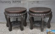 Antique Chinese Rosewood Wood Carved Ancient Chair Chairs Footstool Stool Statue
