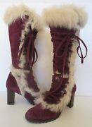 Authentic Coach Lucy Plum Purple Suede And Fur Trim Leather Boots Womens Size 7 B