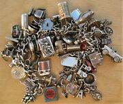 Best Vintage Sterling Silver Articulated Charm Bracelet And 52 Collectible Charms