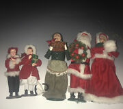 Byers Choice Christmas Carolers Santa And Mrs. Claus + Woman +children, See Note