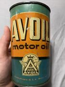 Vintage Rare Early Avoil Pennsylvania Motor Oil Extra Graphic Quart+ 32oz Can