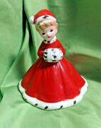 Vintage Josef Originals Red Christmas Angel Bell With Santa Hat And Muff Holiday