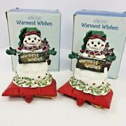 Cast Iron Stocking Hanger Pair Snowman Kathy Hatch Christmas Warmest Wishes 2001