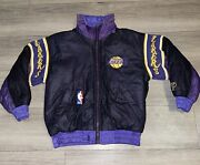Kids Youth Rare Los Angeles Lakers Nba 80s 90s Vintage Reversible Bomber Jacket