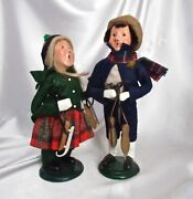 2 Byers' Choice Boy And Girl Carolers Skaters 1991 1996 Limited Eds 86/100 62/100