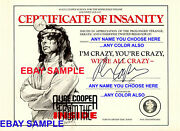 New Exclusive Novelty Alice Cooper From The Inside Certificate Of Insanity No Lp