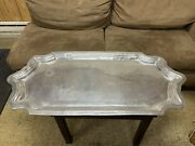 Large Heavy Serving Tray Platter Table Center Piece Cast Aluminum Or Pewter