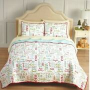Christmas Quilt Comforter Set With Sham Twin/twin Xl Cotton Red And Green