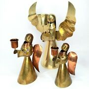 Brass Angel Candle Stick Holders Sculptures Set Of 3 Small Medium Large Vintage