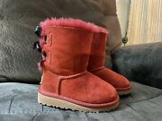 Uggs Toddler Girls Bailey Bow Size 7 Wine Red Euc