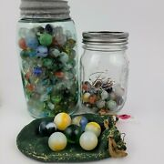 Lot Of Estate Sale Vintage Glass Marbles And Shooters With Two Mason Jars And Pouch