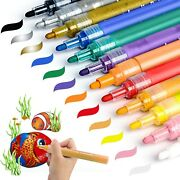 Acrylic Paint Pens For Rock Painting Glass Painting Kit Drawing Pebble Por...