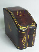 Vintage Italian Gold Embossed Leather Box/ Case For Double Deck Playing Cards
