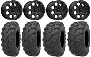 Msa Cannon Beadlock 14 Wheels Bk 28 Bear Claw Evo Tires Pioneer 1000 / Talon