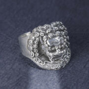 Mens Womens Real Solid 999 Sterling Silver Rings Lion King Animal Open Size 8-10