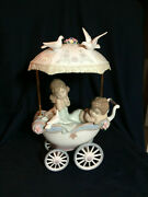 Lladro Antique Style Baby Carriage With Childern Shhh, Let Him Sleep Rare