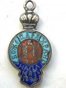 1894 Rare Antique Imperial Russian Sterling Silver 84 Enamel Badge Token Sign