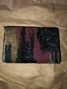 Neiman Marcus Sequined Zipper Pouch Black And Multi-color Rc