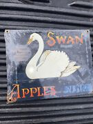 New Ande Rooney Swan Apples Porcelain Tin Sign 9-1/2andrdquox7-1-2andrdquo Perham Fruit Sealed