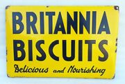 Vintage Old Delicious And Nourishing Britannia Biscuits Ad Porcelain Enamel Sign