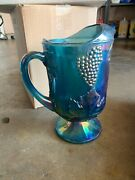 Colony Glass Carnival Blue Pitcher, Candle Holder, 4pc Glassware Set