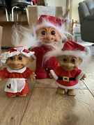 Russ Troll Dolls Christmas Santa And Mrs Claus 8 Inch And 10 Inch White Hair