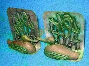 2 Vintage Metzke Brass + Pewter Duck N Pussy Willows Bookends 1980 Art Deco 31c4