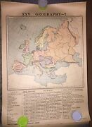 Antique 1887 Poster Map School Chart Europe Britain Italy Russia Geography