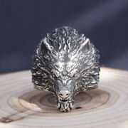 Menand039s Womenandlsquos Real Solid 999 Sterling Silver Rings Wolf Wild Boar Open Size 8-11