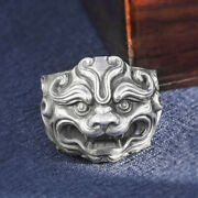 Men's Women's Real Solid 999 Sterling Silver Rings Lion Animal Open Size 8-11