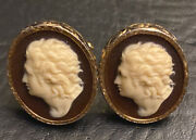 Vintage Dante Carved Cameo Beethoven Cufflinks Museum Collection
