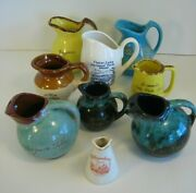Lot Of 9 Mini Souvenir Pitchers / Creamers - Bar Harbor Mount Mitchell Others