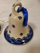 Polish Pottery Christmas Decorations Bell 4in X 4 In Beautiful