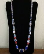 Vintage African Trade Beads 30 Strand Venetian Glass Large 6 Layer Chevrons Evc