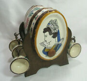 Hb Quimper France Vintage 1960and039s Hand Painted Brandy Cask W Stand And Cup Holders