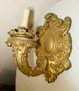 Large Antique Ornate 1800and039s Industrial Gilt Carved Wood Electric Wall Sconce