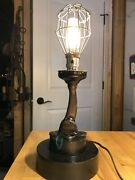 Steampunk Lamp From Vintage Phone Parts With Wood Foundry Base