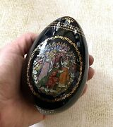 1960 Hand Painted Russian And Ludmila Porcelain Egg Palekh, Russian Fairy Tales